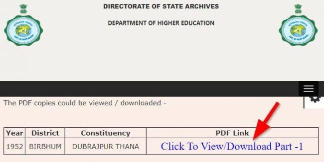 Download Online West Bengal Legacy Voter Electoral