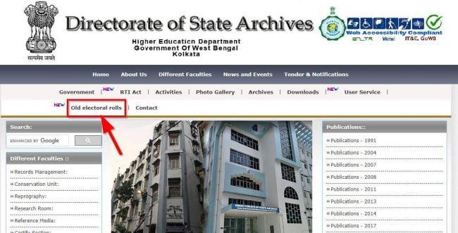 West Bengal Legacy Voter Electoral Portal