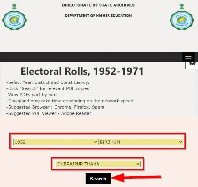 Search Online West Bengal Legacy Voter Electoral